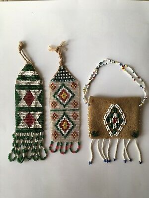 Antique Native American Indian Beaded Watch Fobs (2) Plus Coin Purse