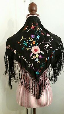 Vintage Black Embroidered Shawl