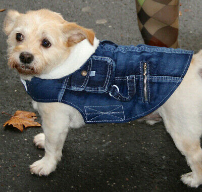 Denim dog jacket coat fleece lining - 20cm x small - 40cm x large dogs NEW