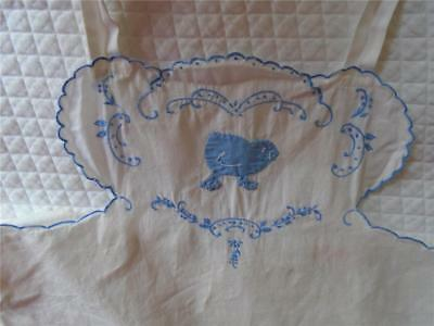 Vintage Baby Sunsuit Applique Chick Scallop Embroidered Infant White Blue 6 mo