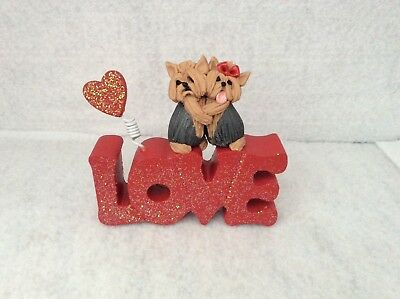 Yorkshire Terrier Yorkie Dogs Valentines Day Love Ooak Clay Sculpture