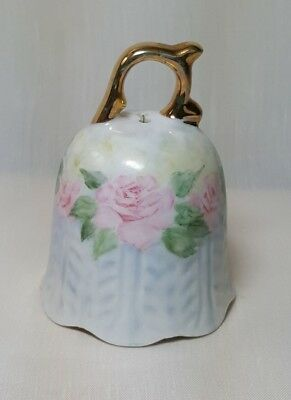 ****BEAUTIFUL*** Antique Hand-Painted Porcelain Pink Floral and Gold Handle Bell