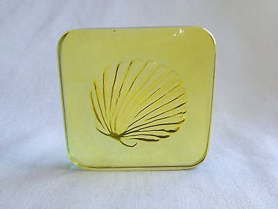 """Stained Glass Seashell Scallop WINDOW ORNAMENT PAPERWEIGHT Yellow Square - 4x4"""""""