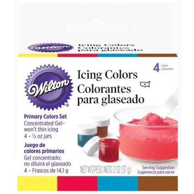 Wilton Food Icing Colour Set - Primary Colors  4 COLORS