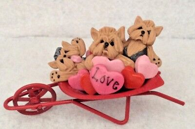 Yorkshire Terrier Yorkie Dogs Valentines Cart Full Of Hearts Ooak Clay Sculpture
