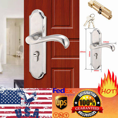 Stainless Steel Privacy Door Security Entry Lever Mortise Handle Lock Set +3 Key