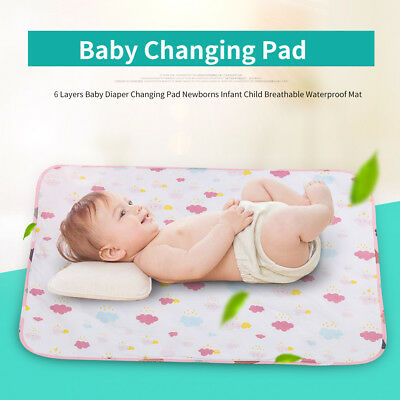 Baby 6 layers Waterproof Urine Mat & Changing Pad Cover Change Mat Diaper Bed