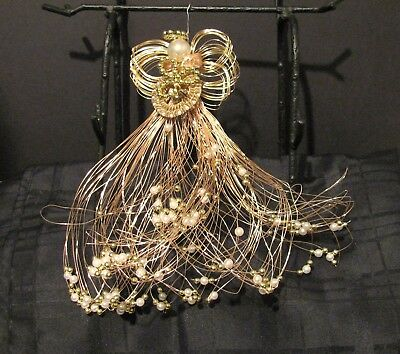 Hand Made U.s.a. Angelic Elegance Gold Tone Wire Angel Tree Topper Or Centerpiec