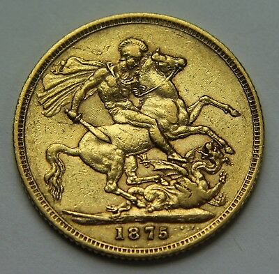 1875-S Great Britain .917 Gold Sovereign Victoria Young Head Horse & Dragon W032