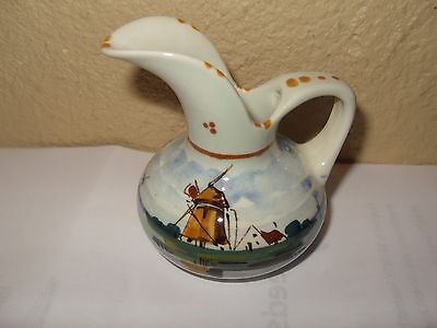 Royal Holland Pitcher Creamer Syrup Windmill Boat hand painted signed 4355