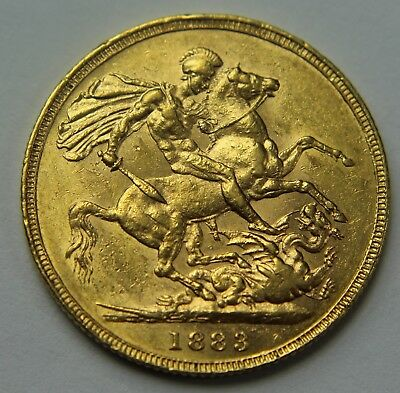 1883-M Great Britain .917 Gold Sovereign Victoria Young Head Horse & Dragon W019