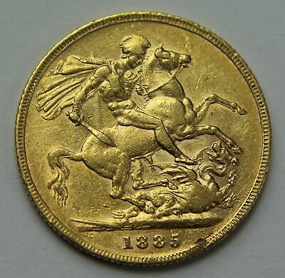 1885 Great Britain .917 Gold Sovereign Victoria Young Head No MM Horse W017