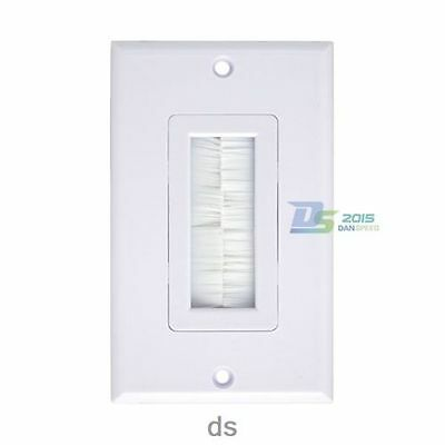 White 1Gang Single Brush Wall plate Faceplate Exit for Home Theater Media Cable