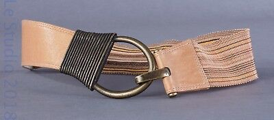 SUZI ROHER Medium Plus Canada Tan Leather Stretch Belt Distressed Brass, Hook