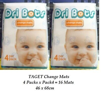 Taget Disposable Baby Change Mats  46 x 68cm  ( pack4 x 4 Packs ) 16 Mats NeW
