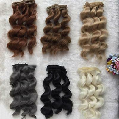 LONG DIY Colorful Ombre Curly Wave Doll Wigs Synthetic Head Hairs Dolls Toy Pro