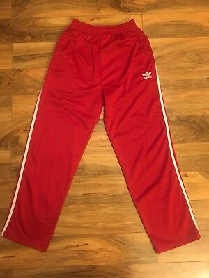 Vintage Adidas Polyester Pants L 80s Red White Sweats Track 3 Stripes Pockets