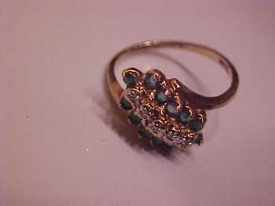 Estate Solid 10K YELLOW Gold EMERALD Cluster & Diamond Ring Size 5.5