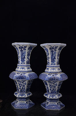 A pair Rare Beautiful Chinese blue and white porcelain Vase