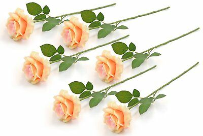 Artificial Open Peach Rose Natural Silk Flowers Premium Quality Decoration