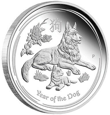 2018  Australian Lunar Year of the Dog - 1/2 oz Silver Proof Coin - Perth Mint