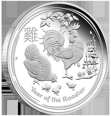2017  Australian Lunar Year of the Rooster 1/2 oz Silver Proof Coin Perth Mint