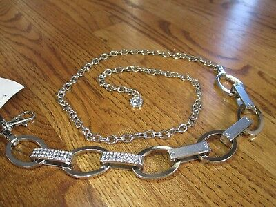 "INC international concepts 1"" Oval link crystal studded Belt NICKLE $34 S/M nwt"