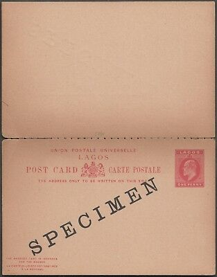 Lagos Upu 1 Penny Pc With Reply Overprinted Specimen