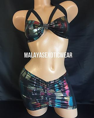 Exotic Dancer Stripper Sexy Sparkle Rhinestone Scrunch Skirt Dancewear Set