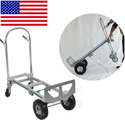 Durable 2in1 Aluminum Hand Truck 770LBS Convertible Foldable Dolly 4 Wheel Cart