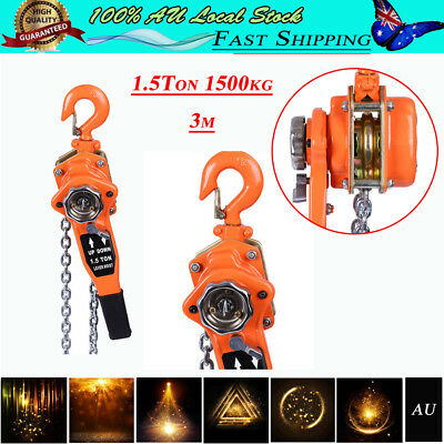 Brand New Arrival Chain Lever Lift Hoist Block Manual Operated 1.5T 3m 1500kg AU