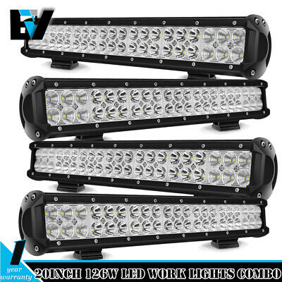 4PCS 20inch CREE LED Work Light Bar Combo Beam SUV Offroad 4WD Driving Lamps