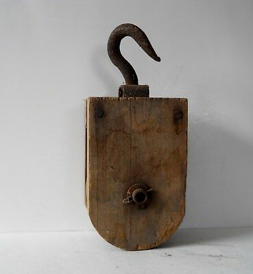 Vintage Wood With Iron Hook Barn Pulley.