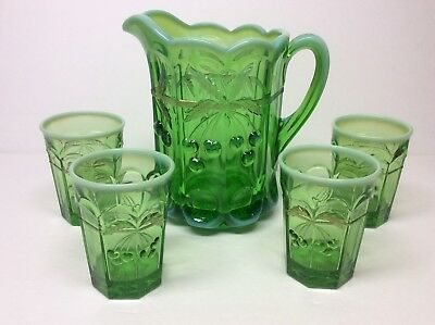 Vtg Mosser Glass Cherry & Cable Green Opalescent Thumbprint Pitcher & 4 Tumblers