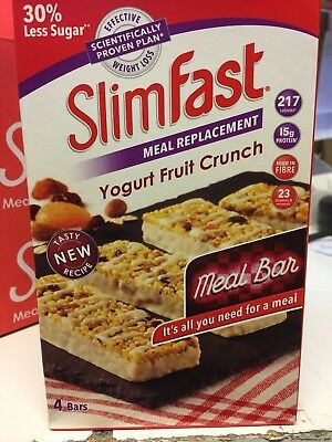 SLIMFAST MEAL REPLACEMENT BARS CHOOSE FROM 4 to 16 bars YOGURT FRUIT CRUNCH