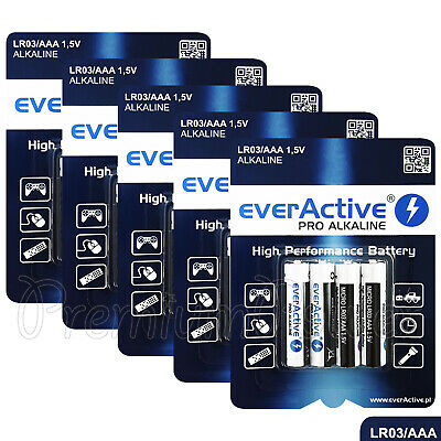20 x everActive AAA batteries Alkaline LR03 MICRO MN2400 1.5V Pack GREAT VALUE