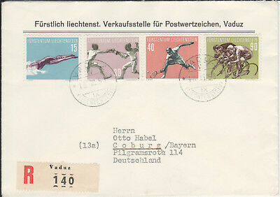 Liechtenstein 365 - 368, Sport 1958, echt gel. FDC, R-Brief Vaduz