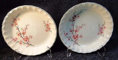 """TWO W S George Bolero Peach Blossom Soup Bowls 7 1/2"""" Set of 2 EXCELLENT"""