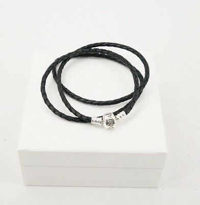 Authentic PANDORA Black Braided Triple Leather Braided Bracelet 590705CBK-T