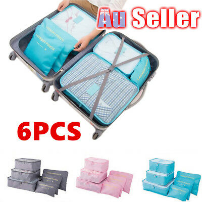 6pcs Packing Cube Luggage Pouch Suitcase Cloth Sock Storage Bag Travel Organizer