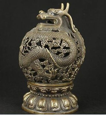 Rare Chinese Old Bronze Collectable Handwork Carved Dragon Incense Burner