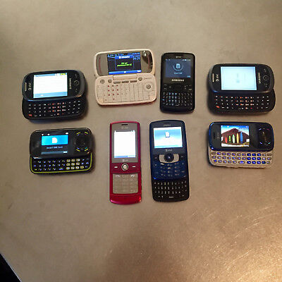 Lot of 8 AT&T Qwerty / Slider Mobile Phones - LG, Samsung, & Pantech
