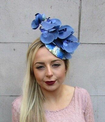 Royal Light Blue Cream Orchid Flower Fascinator Races Ascot Pillbox Hat 50s 5037