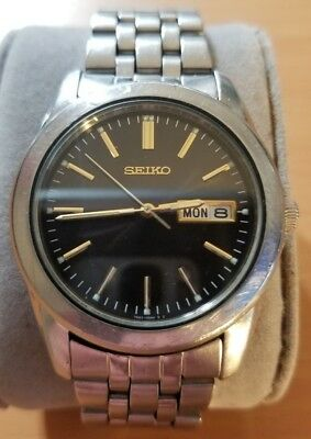 Seiko analog men watch kanji date window JDM vtg 7N43-0AM0 stainless steel