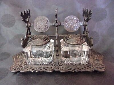 JUDD Antique Double Inkwell Set pat'd 1879 Cast Iron Black
