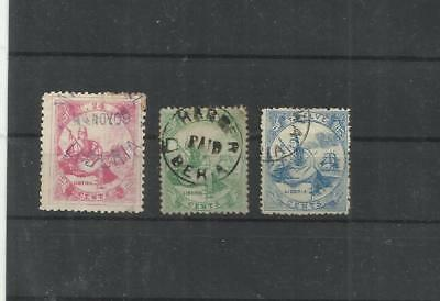 Liberia early stamps used x 3