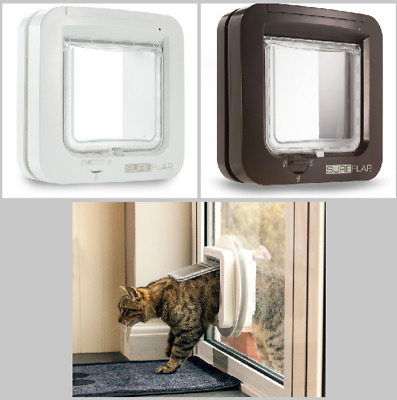 Microchip Sureflap White & Brown Genuine Cat Flap Catflap Posted New