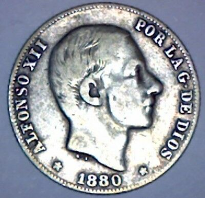 1880 Philippines 20 Centavos KEY DATE VF Coin