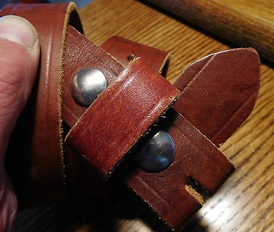 Vintage Thick Brown Leather Large Silver Snaps Work Belt 30