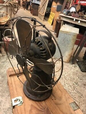 Antique GE Nickel Coin Operated Electric Hotel Fan Brass Blades WORKS! Rare